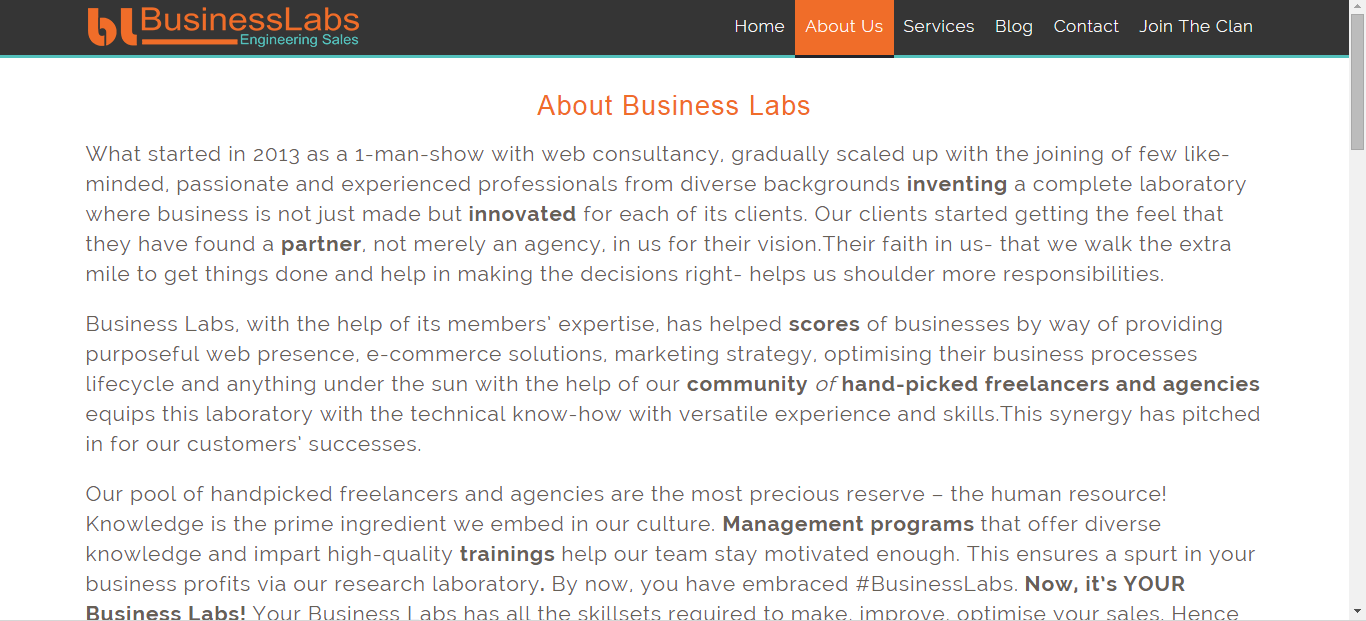 Best typography example in about us page of Business Labs using negative space