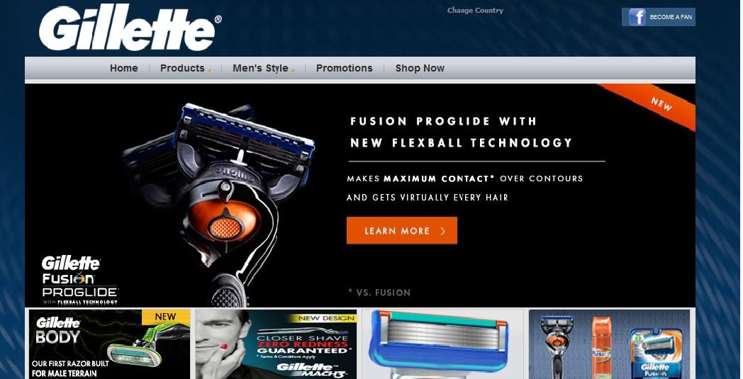 colors in gillete webdesign