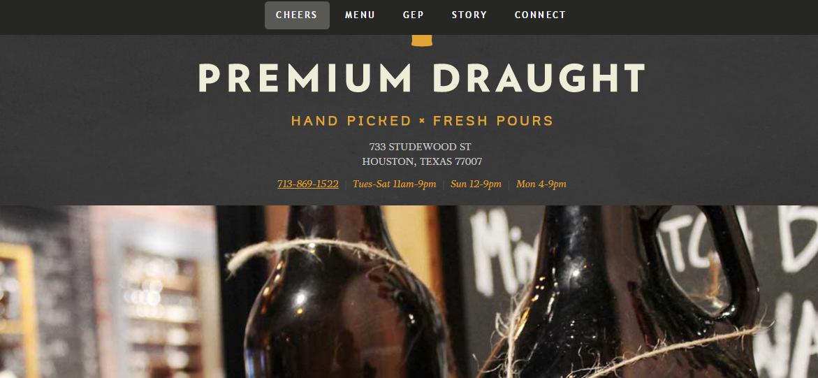 premium draught website design