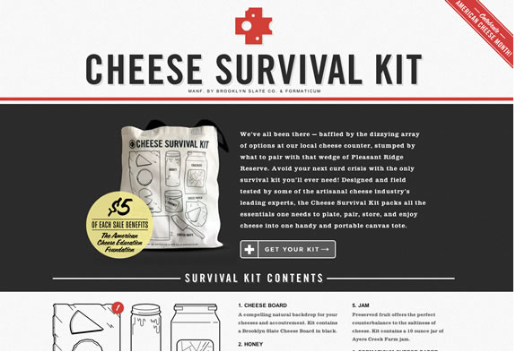 Color combination of Cheese Survival Kit Web design
